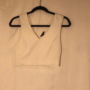 Cropped White Sleeveless Top
